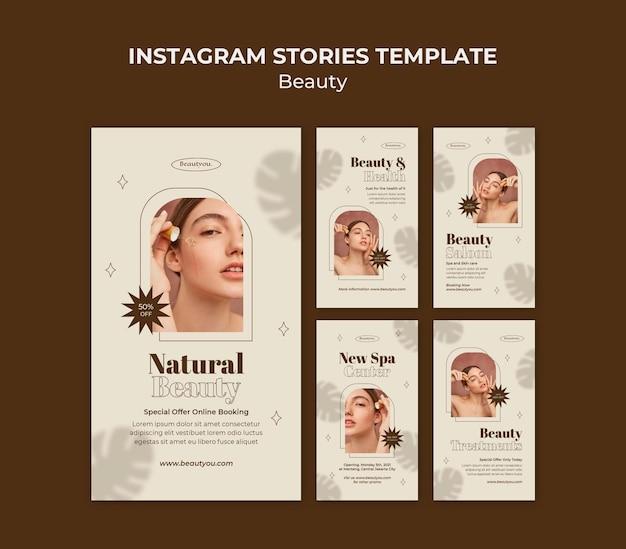 Modelo de histórias de beleza natural para instagram