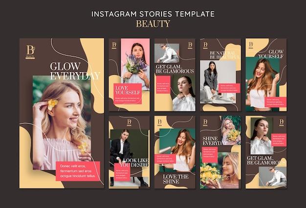 Modelo de histórias de beleza no instagram