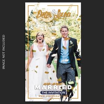 Modelo de histórias de casamento do instagram