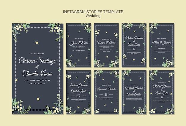 Modelo de histórias de casamento instagram