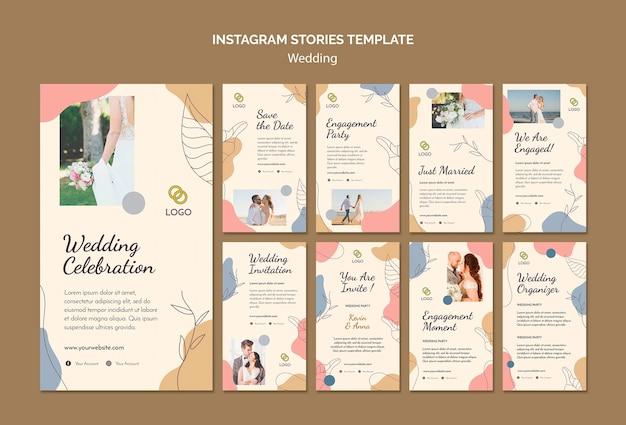 Modelo de histórias de casamento no instagram