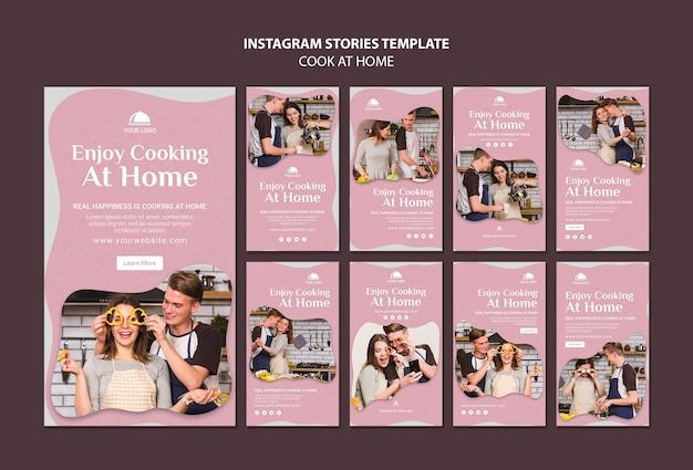 Modelo de histórias de cozinha em casa no instagram