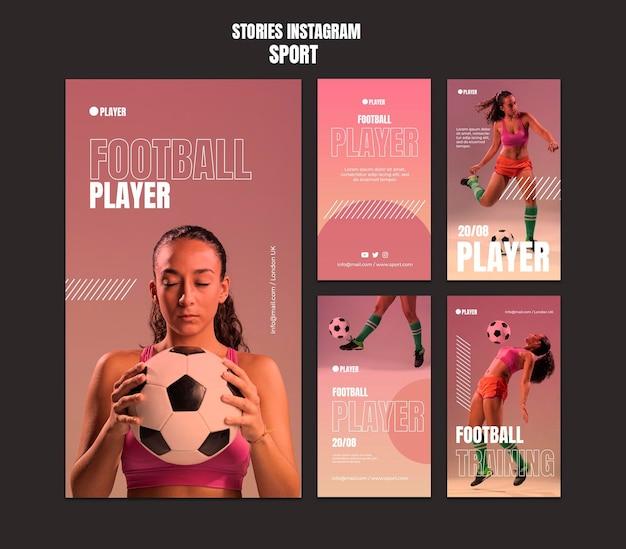 Modelo de histórias de esportes instagram com foto de mulher jogando futebol