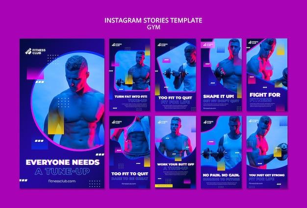 Modelo de histórias de exercícios nas redes sociais com foto