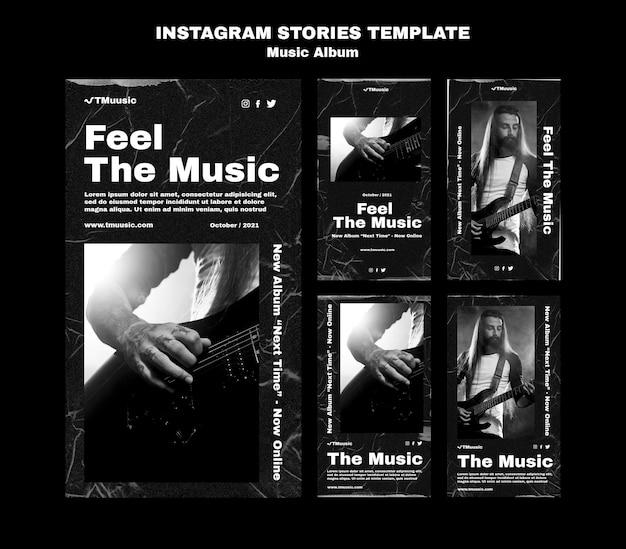 Modelo de histórias de instagram de álbum de música