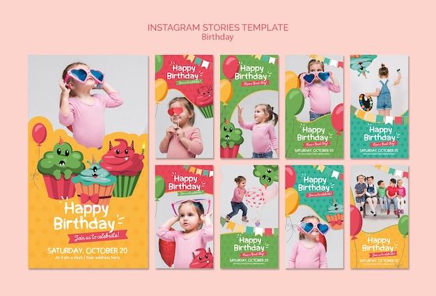 Modelo de histórias de instagram de aniversário