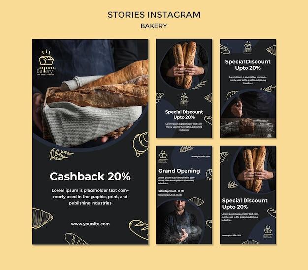 Modelo de histórias de instagram de anúncio de padaria