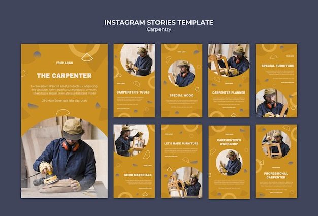 Modelo de histórias de instagram de anúncios carpenter