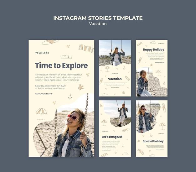 Modelo de histórias de instagram de anúncios de férias
