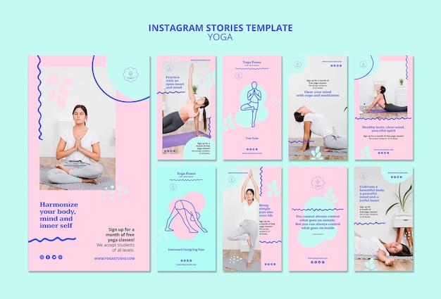Modelo de histórias de instagram de anúncios de ioga