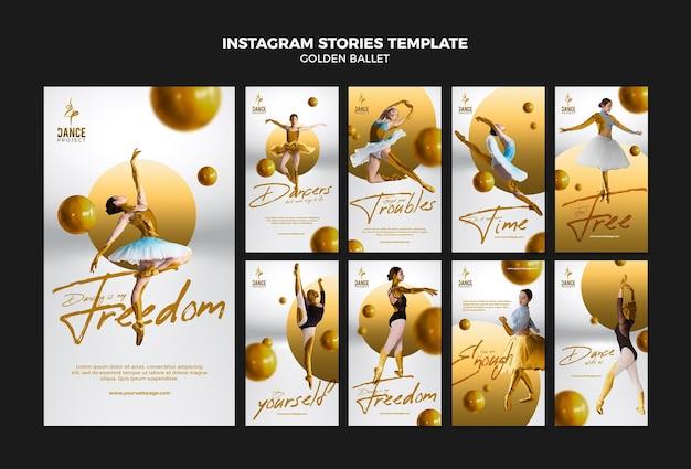 Modelo de histórias de instagram de balé dourado