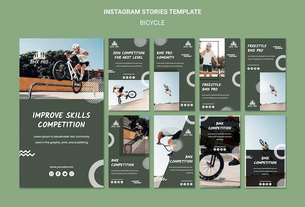 Modelo de histórias de instagram de bicicleta