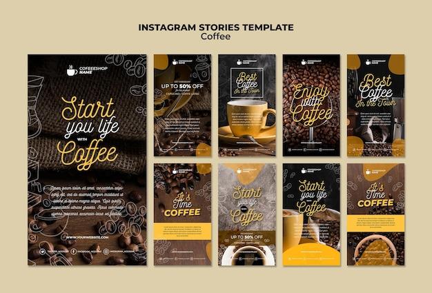 Modelo de histórias de instagram de café
