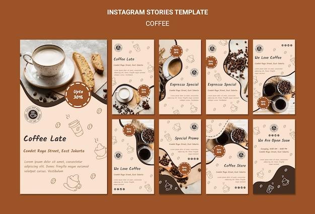 Modelo de histórias de instagram de cafeteria