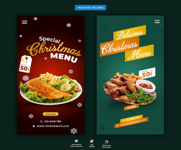 Modelo de histórias de instagram de comida ou menu de natal psd premium
