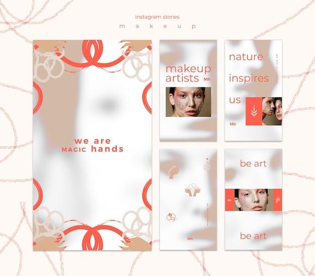 Modelo de histórias de instagram de conceito de maquiagem