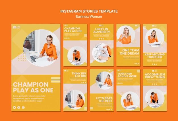 Modelo de histórias de instagram de conceito de mulher de negócios