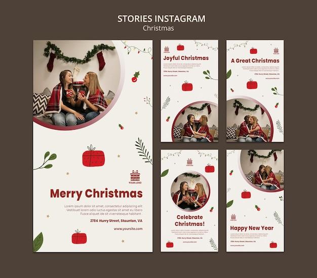 Modelo de histórias de instagram de conceito de natal Psd Premium