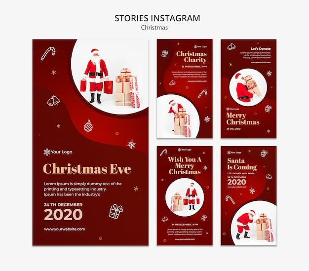 Modelo de histórias de instagram de conceito de natal