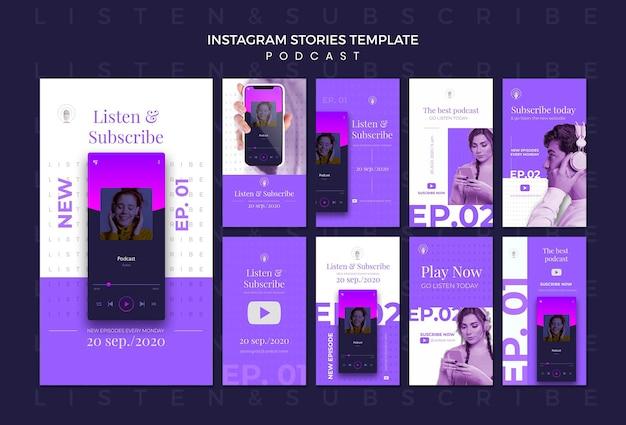 Modelo de histórias de instagram de conceito de podcast