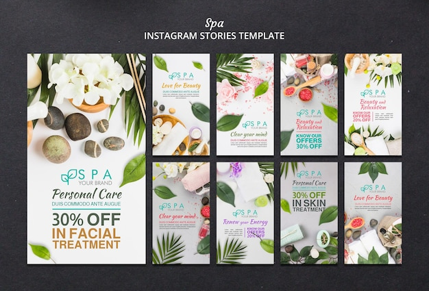 Modelo de histórias de instagram de conceito de spa
