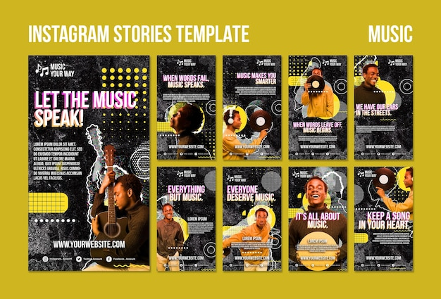 Modelo de histórias de instagram de desempenho musical