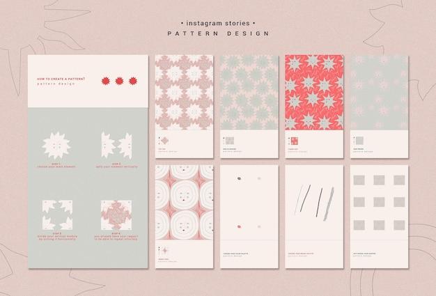 Modelo de histórias de instagram de design de padrões