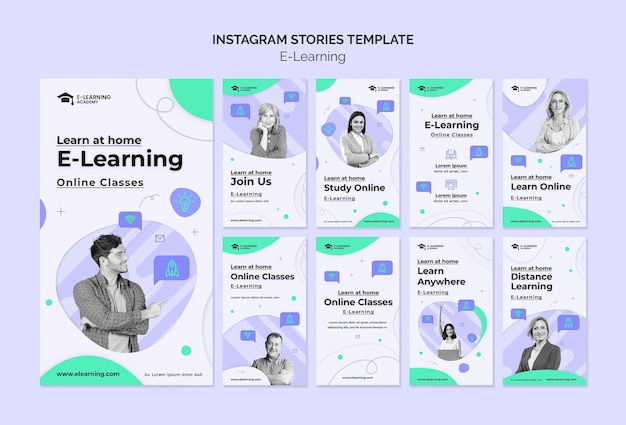 Modelo de histórias de instagram de e-learning