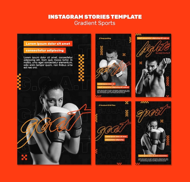 Modelo de histórias de instagram de esportes de luta
