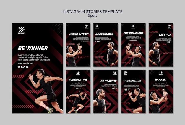 Modelo de histórias de instagram de esportista apto