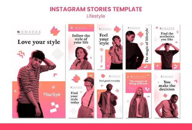 Modelo de histórias de instagram de estilo de vida de moda