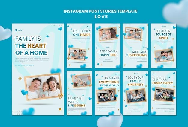 Modelo de histórias de instagram de família feliz