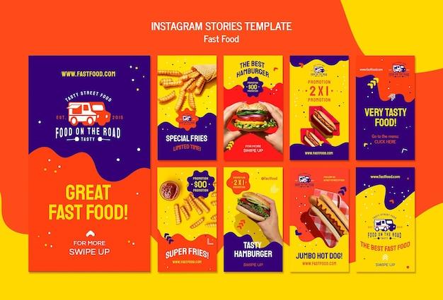 Modelo de histórias de instagram de fast food