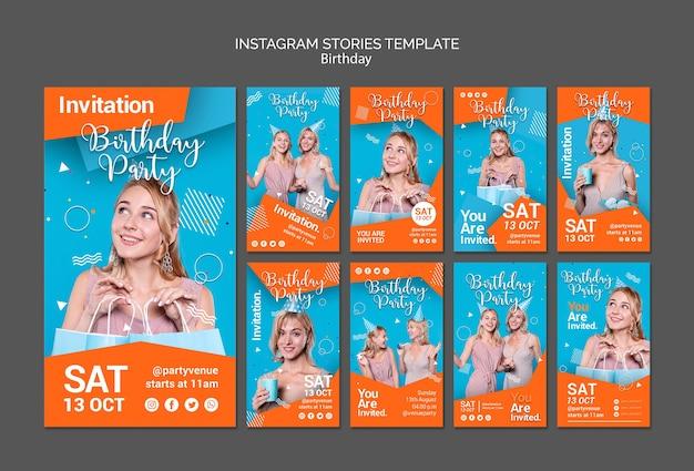 Modelo de histórias de instagram de festa de aniversário