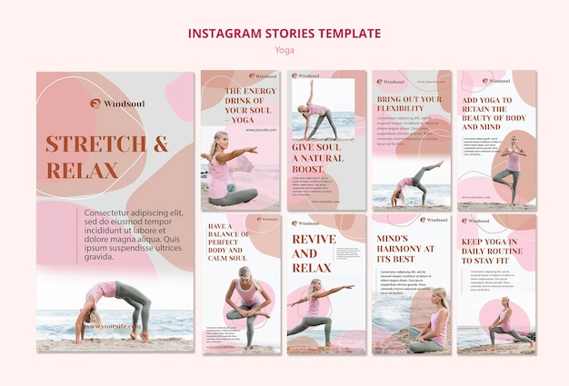 Modelo de histórias de instagram de ioga e meditação