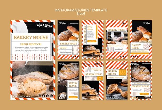 Modelo de histórias de instagram de negócios de pão