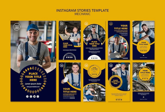 Modelo de histórias de instagram de negócios mecânico