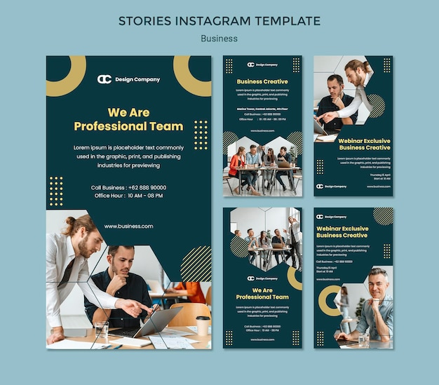 Modelo de histórias de instagram de negócios