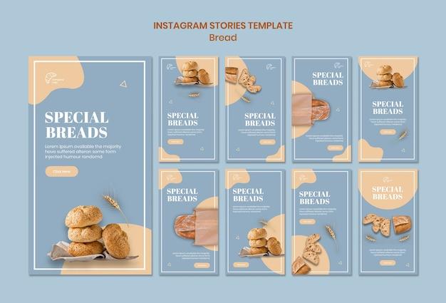 Modelo de histórias de instagram de pão especial