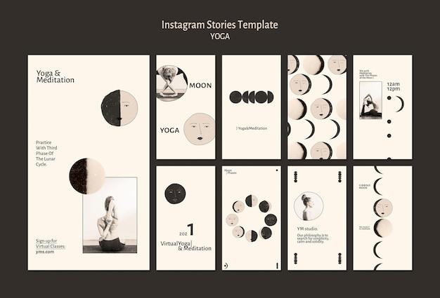 Modelo de histórias de instagram de prática de ioga