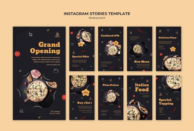 Modelo de histórias de instagram de restaurante italiano
