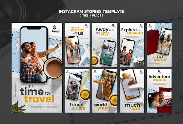 Modelo de histórias de instagram de tempo de viagem