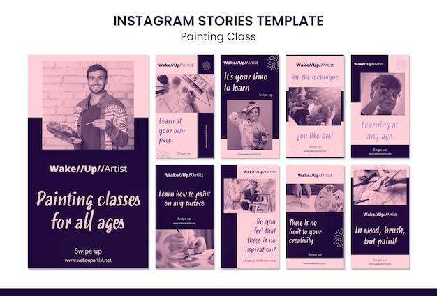 Modelo de histórias de instagram para aula de pintura