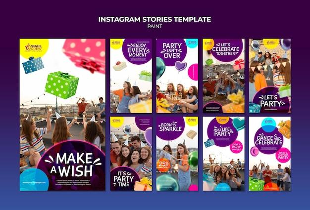 Modelo de histórias de instagram para celebração de festa