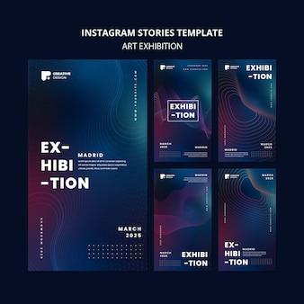 Modelo de histórias de instagram para exposição de arte