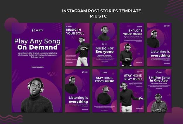 Modelo de histórias de instagram para reproduzir música