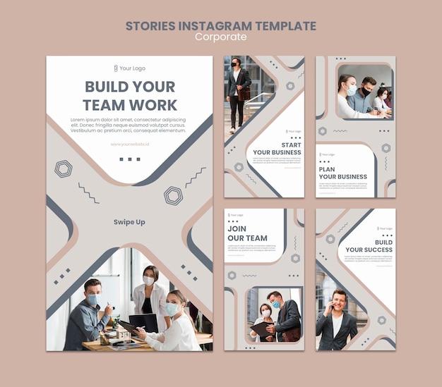 Modelo de histórias de instagram para trabalho em equipe