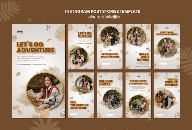 Modelo de histórias de lazer e vida selvagem no instagram
