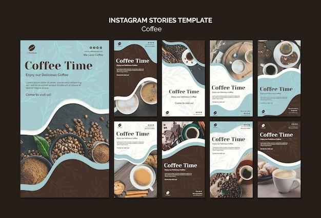 Modelo de histórias de loja de café no instagram