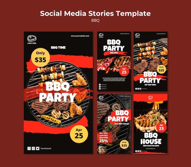 Modelo de histórias de mídia social com churrasco
